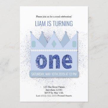 royal prince 1st birthday invitation | crown