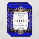 royal prince 21st birthday blue ornate gold crown invitation