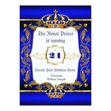 Small Royal Prince 21st Birthday Blue Ornate Gold Crown Invitation Front View
