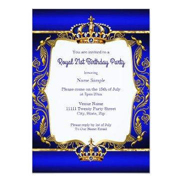 Small Royal Prince 21st Birthday Blue Ornate Gold Crown Invitation Back View