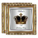 royal prince king crown gold silver birthday party invitations