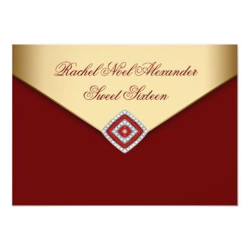 royal red gold sweet sixteen invitation