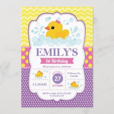 rubber duck 1st birthday invitation girl