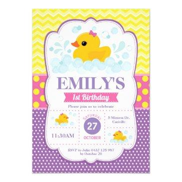 rubber duck 1st birthday invitation girl