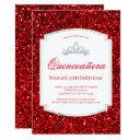 ruby red glitter quinceañera invitations