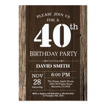 rustic 40th birthday invitation vintage wood