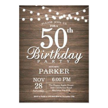 Rustic 50th Birthday Invitation String Lights Wood
