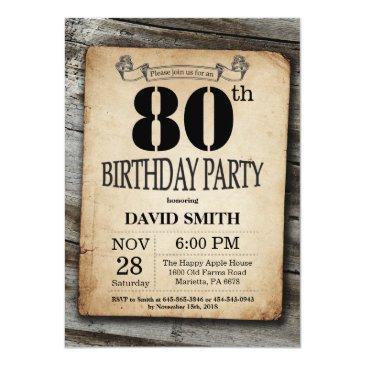 rustic 80th birthday invitations vintage wood