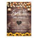 rustic autumn sunflowers vintage lantern sweet 16 invitation