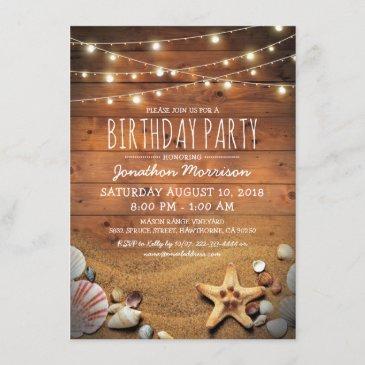 rustic beach tropical nautical birthday party invitation