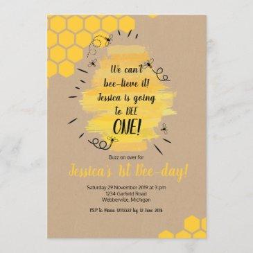 rustic bee 1st birthday party invitation