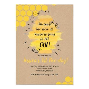 rustic bee 1st birthday party invitation