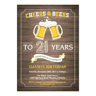 Small Rustic Beer Surprise 21st Birthday Invitation Front View