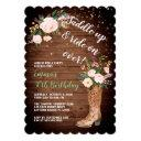 rustic boho cowgirl floral boots birthday party invitations