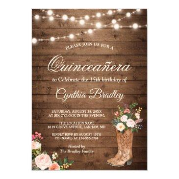rustic boots cowgirl quinceañera 15th birthday invitations