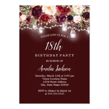 rustic burgundy floral lights 18th birthday invitations