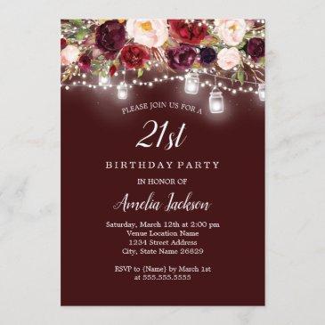 rustic burgundy floral lights 21st birthday invitation