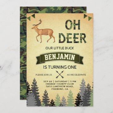 rustic camo deer hunting first birthday invitation