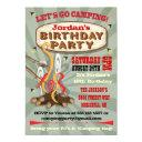 rustic camping birthday party invitations