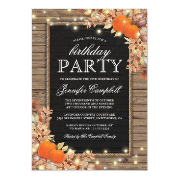Small Rustic Country Autumn Fall Birthday Party Invitations Front View
