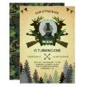rustic deer hunting 1st birthday party invitation