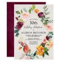 rustic fall floral adult birthday, fall autumn invitation