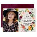 rustic fall floral adult birthday photo invitations