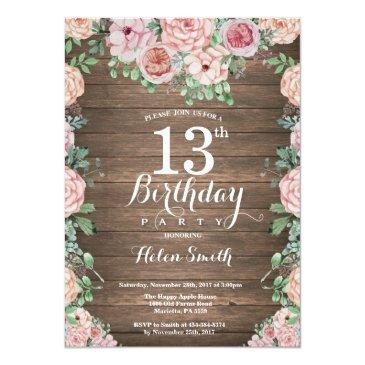 rustic floral pink peonies 13th birthday invitation