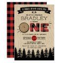 rustic forest plaid lumberjack boys 1st birthday invitation