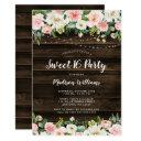 rustic pink floral string lights sweet 16 invitations