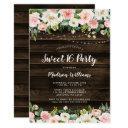 rustic pink floral string lights sweet 16 invitation