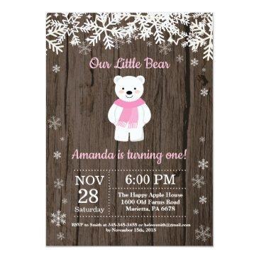 rustic polar bear winter girl birthday invitations