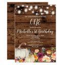 rustic pumpkin burgundy gold girl first birthday invitation