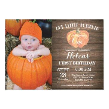 rustic pumpkin first birthday invitation