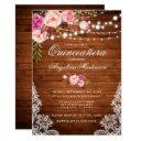 rustic quinceanera wood lights lace pink floral invitations