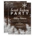 rustic snowflakes wood winter sweet 16 invitation