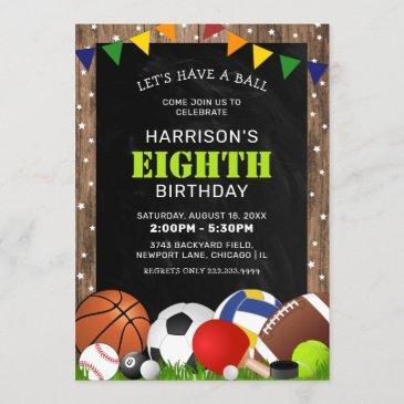 rustic sports themed kids birthday party invitation