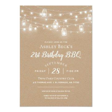 Small Rustic String Lights Birthday Party Bbq Invitation Front View