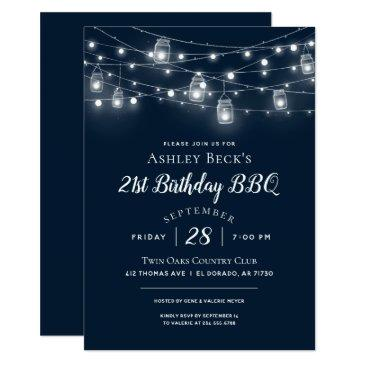 rustic string lights birthday party bbq invitation