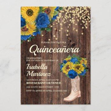 rustic sunflower blue roses boots quinceañera invitation