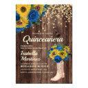rustic sunflower blue roses boots quinceañera invitation