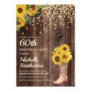 rustic sunflower boots glitter 60th birthday invitation
