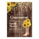 rustic sunflower boots glitter quinceañera 15th invitation