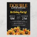 rustic sunflower double celebration birthday invitation