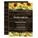 rustic sunflower floral string lights quinceanera invitation