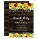 rustic sunflower floral string lights sweet 16 invitation
