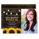rustic sunflower mason jar lights sweet 16 photo invitations