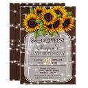 rustic | sunflowers lights mason jar sweet sixteen invitations