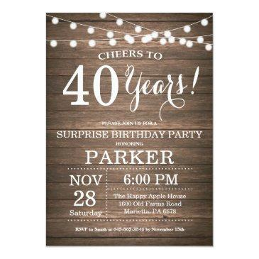 Small Rustic Surprise 40th Birthday Invitation Wood Front View