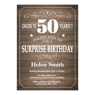 Small Rustic Surprise 50th Birthday Invitation Front View